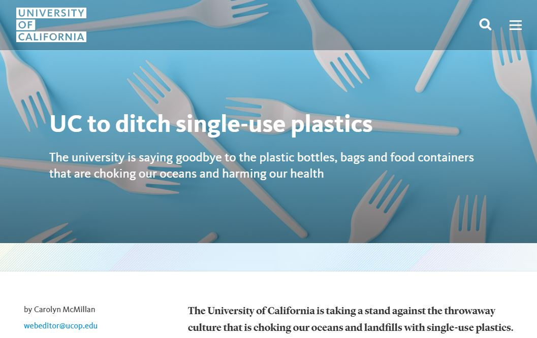 UC School System to Ditch Single Use Plastics